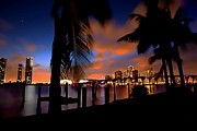 Skylines Digital Art Prints - Miami Skyline Print by Byron Fli Walker