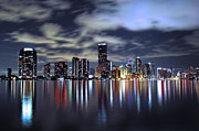 Miami Photo Posters - Miami Skyline Poster by Gary Dean Mercer Clark
