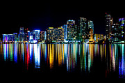 American Airlines Arena Prints - Miami Skyline high res Print by Rene Triay Photography