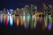 American Airlines Arena Prints - Miami Skyline III high res Print by Rene Triay Photography