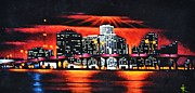 Black Velvet Painting Originals - Miami Skyline by Thomas Kolendra