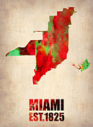 Modern Poster Metal Prints - Miami Watercolor Map Metal Print by Irina  March