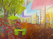 Store Fronts Painting Prints - Miamis Coconut Grove Shops Print by Douglas Ann Slusher