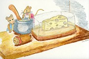 Mice Drawings Posters - Mice and food Poster by Eva Ason