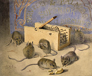 Mice Paintings - Mice and Huntley Palmers Superior Biscuits by Agnes Louise Holding