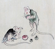 Asian Artist Drawings - Mice in Council by Katsushika Hokusai
