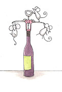 Corkscrew Posters - Mice with Wine Poster by Christy Beckwith