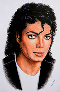 Famous Faces Drawings Posters - Michael Poster by Andrew Read