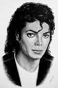 Singer Drawings - Michael b/w version by Andrew Read
