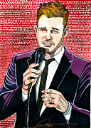Michael Drawings Framed Prints - Michael Buble Framed Print by Dave Olsen