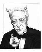 Michael Drawings Framed Prints - Michael Caine. Flaming Scotch Framed Print by Shari Mallinson