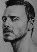 Actor Drawings Posters - Michael Fassbender Poster by Steve Hunter