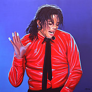 Entertainer Painting Framed Prints - Michael Jackson 2 Framed Print by Paul  Meijering