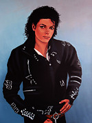 Singer Songwriter Painting Framed Prints - Michael Jackson 3 Framed Print by Paul  Meijering