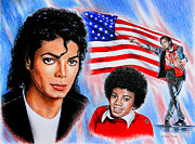Flag Drawings Posters - Michael Jackson American Legend Poster by Andrew Read