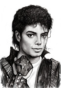 Michael Drawings Posters - Michael Jackson art drawing sketch portrait Poster by Kim Wang