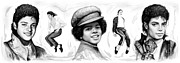 Entertainer Drawings Prints - Michael Jackson art long drawing sketch poster Print by Kim Wang