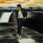 Michael Jackson Glass Art Posters - Michael Jackson Poster by Betta Artusi