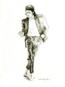 Michael Jackson Drawings Framed Prints - Michael Jackson Billy Jean Framed Print by David Lloyd Glover