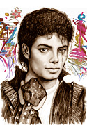 Celebrities Mixed Media Prints - Michael jackson colour drawing art poster Print by Kim Wang