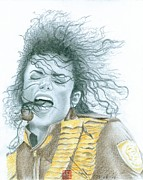 Michael Jackson Drawings Posters - Michael Jackson - Dangerous Tour Poster by Eliza Lo