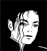 Michael Jackson Portrait Posters - Michael Jackson Digital Portrait Poster by Sanely Great