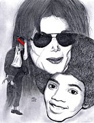 Jackson 5 Drawings - Michael Jackson by Gil Fong