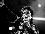 Michael Jackson Portrait Posters - Michael Jackson in Concert Poster by Sanely Great