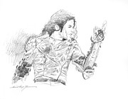 King Of Pop Drawings Prints - Michael Jackson Intensity Print by David Lloyd Glover
