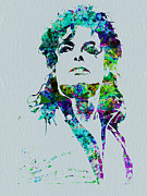 Watercolor Painting Prints - Michael Jackson Print by Irina  March