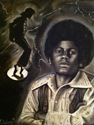 Jackson Five Drawings Posters - Michael Jackson Poster by Larry Silver