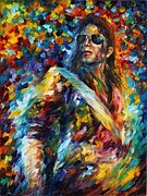 Super Star Painting Prints - Michael Jackson - Palette Knife Oil Painting On Canvas By Leonid Afremov Print by Leonid Afremov