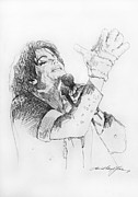 Pop Singer Painting Prints - Michael Jackson Passion Sketch Print by David Lloyd Glover