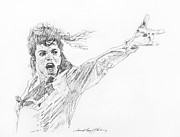 Pop Icon Drawings Posters - Michael Jackson Power Performance Poster by David Lloyd Glover