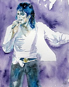 Singer Paintings - Michael Jackson Singing Portrait.2 by Fabrizio Cassetta