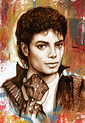 Dancer Art Mixed Media Prints - Michael Jackson stylised pop art drawing sketch poster Print by Kim Wang