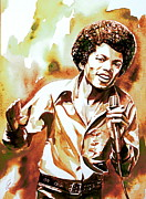 Michael Framed Prints - Michael Jackson Watercolor Portrait.18 Framed Print by Fabrizio Cassetta