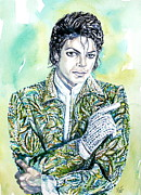Michael Jackson Metal Prints - Michael Jackson Watercolor Portrait.19 Metal Print by Fabrizio Cassetta