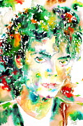 Michael Framed Prints - Michael Jackson Watercolor Portrait.4 Framed Print by Fabrizio Cassetta