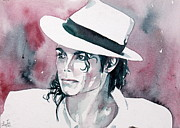 Michael Jackson Metal Prints - MICHAEL JACKSON with HAT PORTRAIT.1 Metal Print by Fabrizio Cassetta