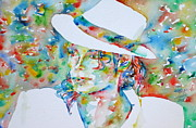 Michael Jackson Metal Prints - MICHAEL JACKSON with HAT PORTRAIT.2 Metal Print by Fabrizio Cassetta