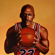 Basket Ball Painting Metal Prints - Michael Jordan 2 Metal Print by Paul  Meijering