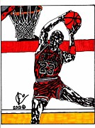 Nba Drawings Framed Prints - Michael Jordan 3 Framed Print by Jeremiah Colley