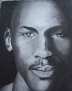 Bulls Drawings Prints - Michael Jordan Print by Aaron Balderas