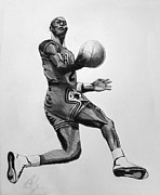 Bulls Drawings Prints - Michael Jordan Print by Adam Barone