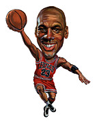 Caricatures Paintings - Michael Jordan by Art