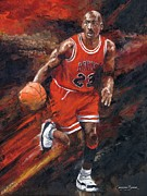 Sports Art Print Paintings - Michael Jordan Chicago Bulls Basketball Legend by Christiaan Bekker