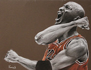 Chicago Bulls Pastels Framed Prints - Michael Jordan - Chicago Bulls Framed Print by Prashant Shah