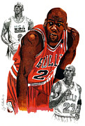 Nba Drawings Framed Prints - Michael Jordan Framed Print by Cory Still