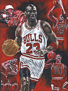 Nba Paintings - Michael Jordan by David Courson